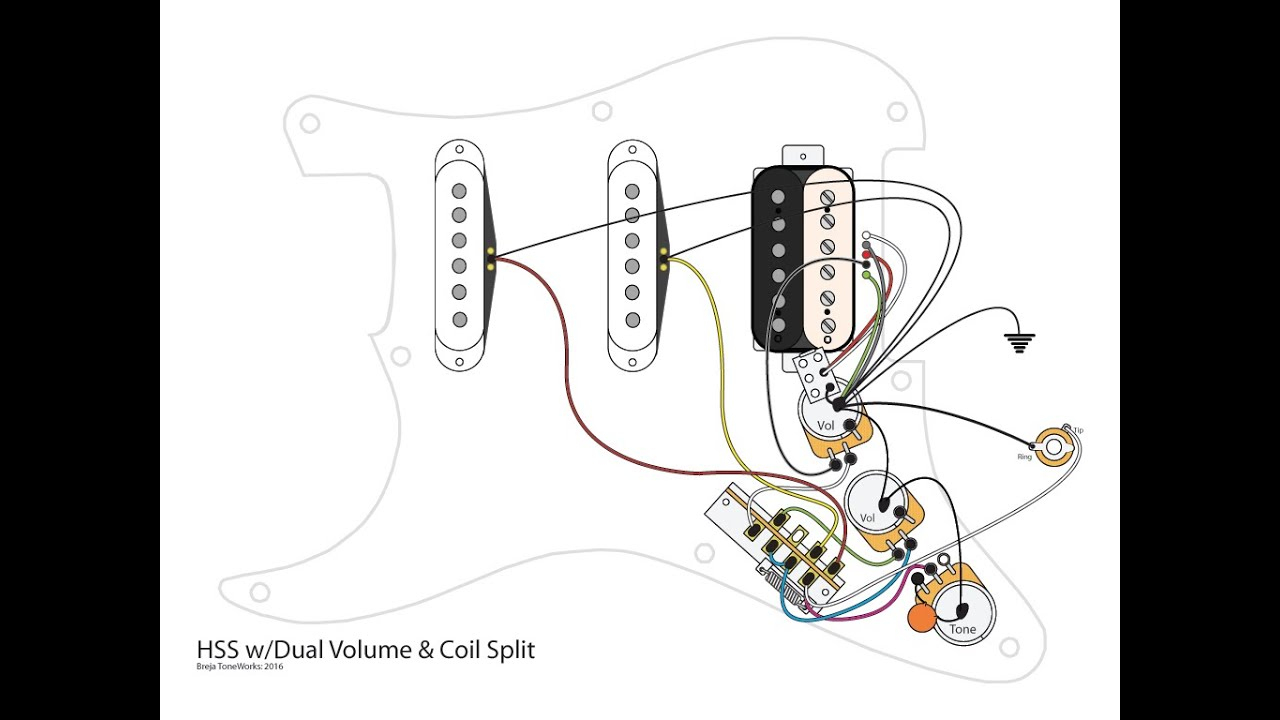 Hss Guitar W/dual Volumes, Master Tone And Coil Split - Youtube - Fender Hss Wiring Diagram