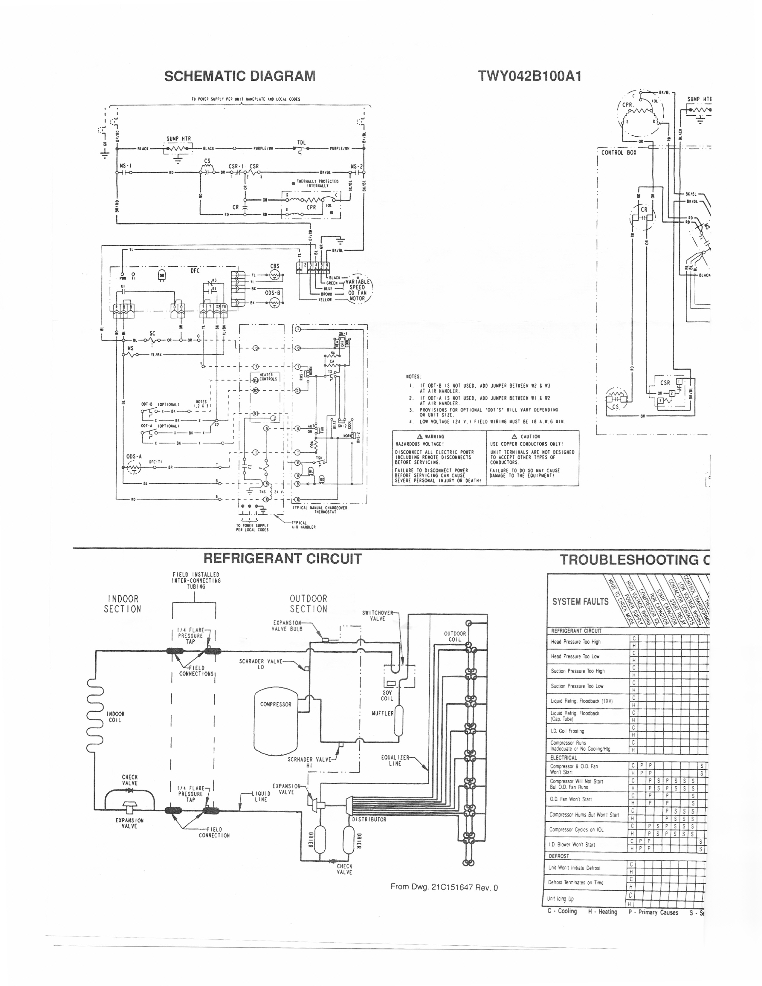 I Have A Trane Xl1400 Heat Pump (Model Twy042B100A1) And The Control - Trane Heat Pump Wiring Diagram