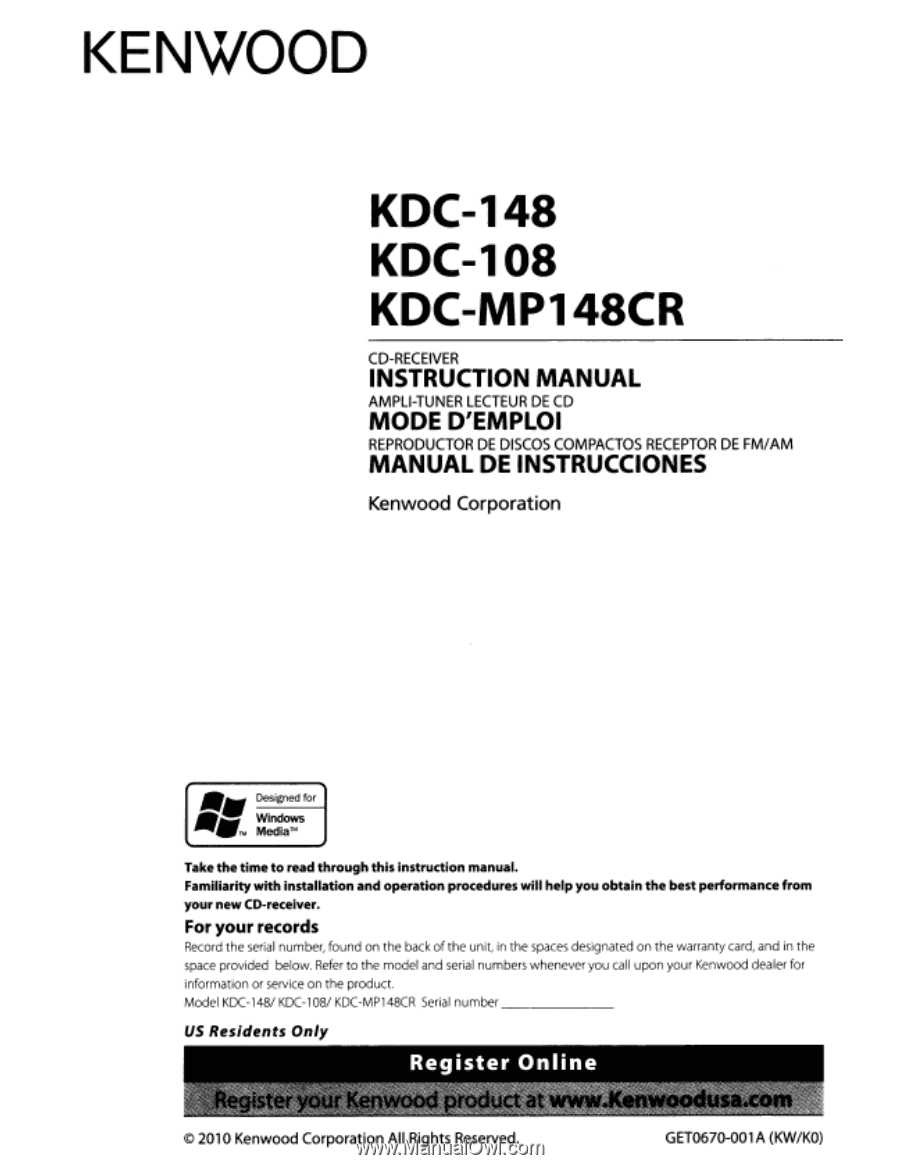 Kenwood Kdc-108 Manual - Kenwood Kdc 108 Wiring Diagram