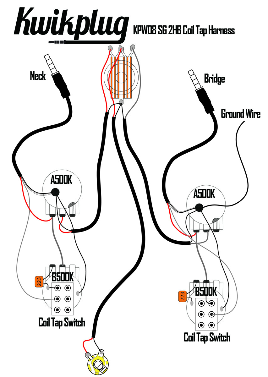 kwikplug sg dual coil tap humbucker wiring harness pre soldered – coil  split wiring diagram