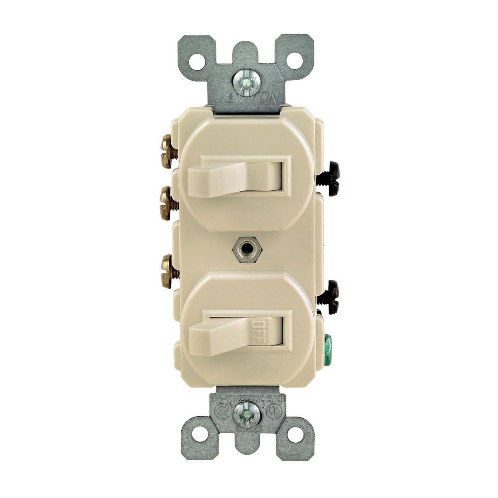 Leviton 15 Amp 3-Way Combination Double Switch, Light Almond-R66 - Leviton 3 Way Switch Wiring Diagram