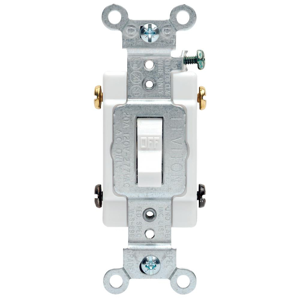 Leviton 20 Amp Commercial Double-Pole Toggle Switch, White-R52-0Csb2 - Double Pole Switch Wiring Diagram