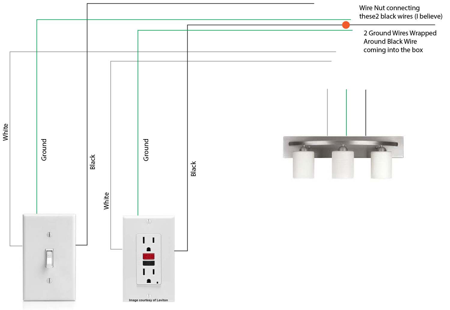 Lighting - Wiring A Light Fixture In Bathroom Attached To A Switch - Wiring A Gfci Outlet With A Light Switch Diagram