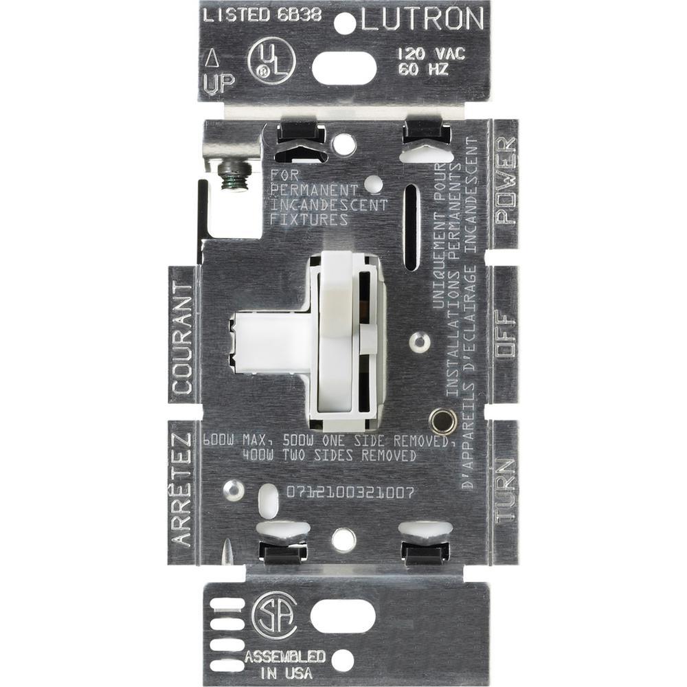 Lutron Toggler 600-Watt Single-Pole/3-Way Eco-Dimmer - White-Tg - Lutron Dimmer Wiring Diagram