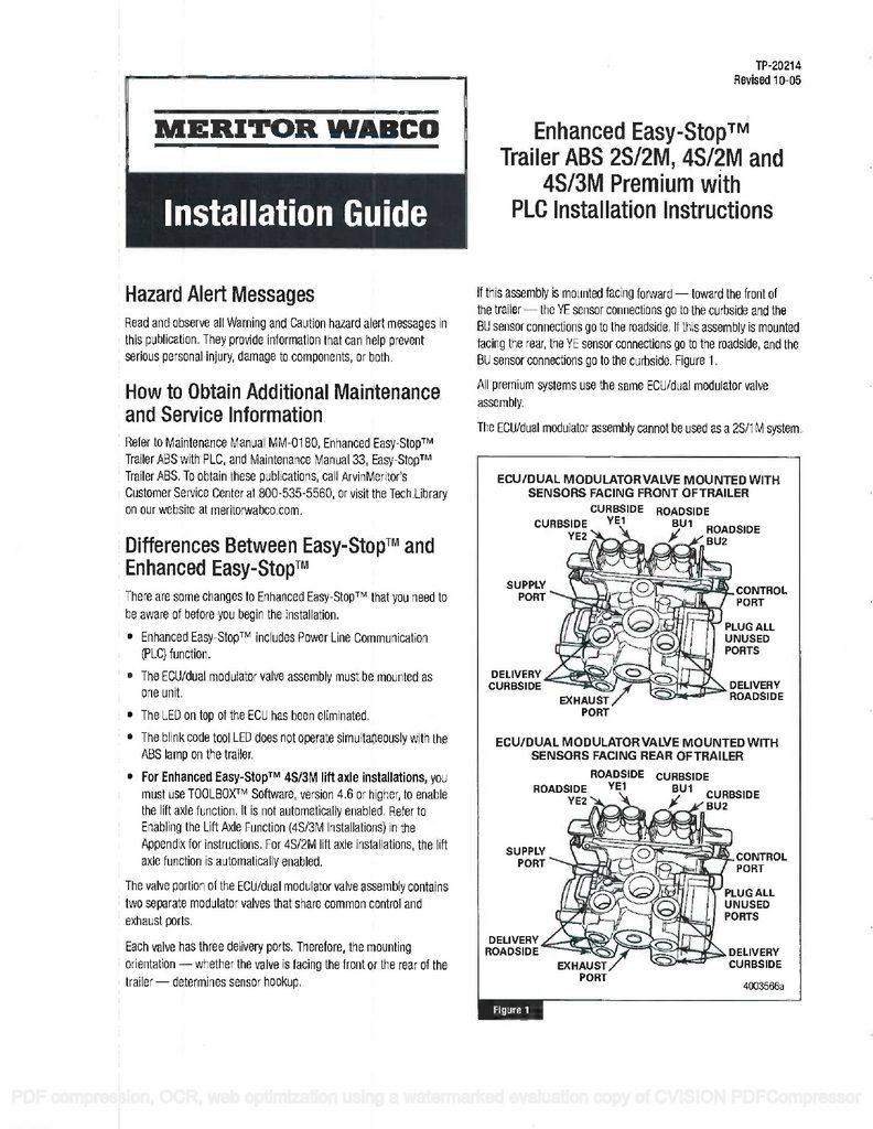 meritor wabco trailer abs wiring diagrams | manual e-books - wabco on bendix  abs