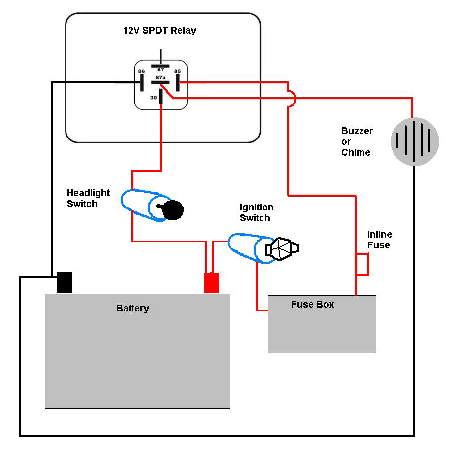Motorcycle Headlight With Single Spdt Relay - Motor Vehicle - Headlight Wiring Diagram