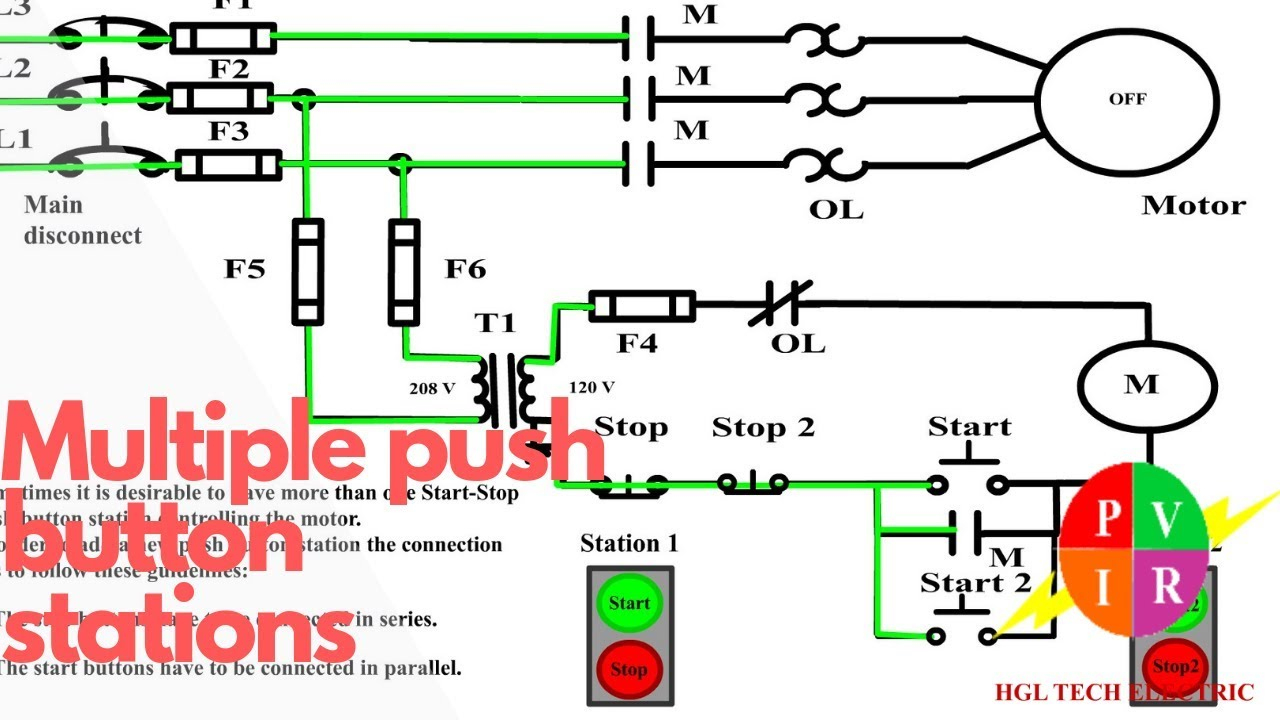 Multiple Push Button Stations. Three Wire Control Multiple Stations - Push Button Start Wiring Diagram