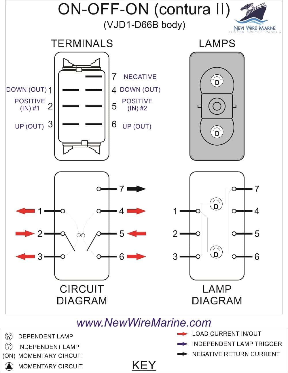 On-Off-On | Marine Rocker Switch | Carling Vjd1 | New Wire Marine - Illuminated Rocker Switch Wiring Diagram