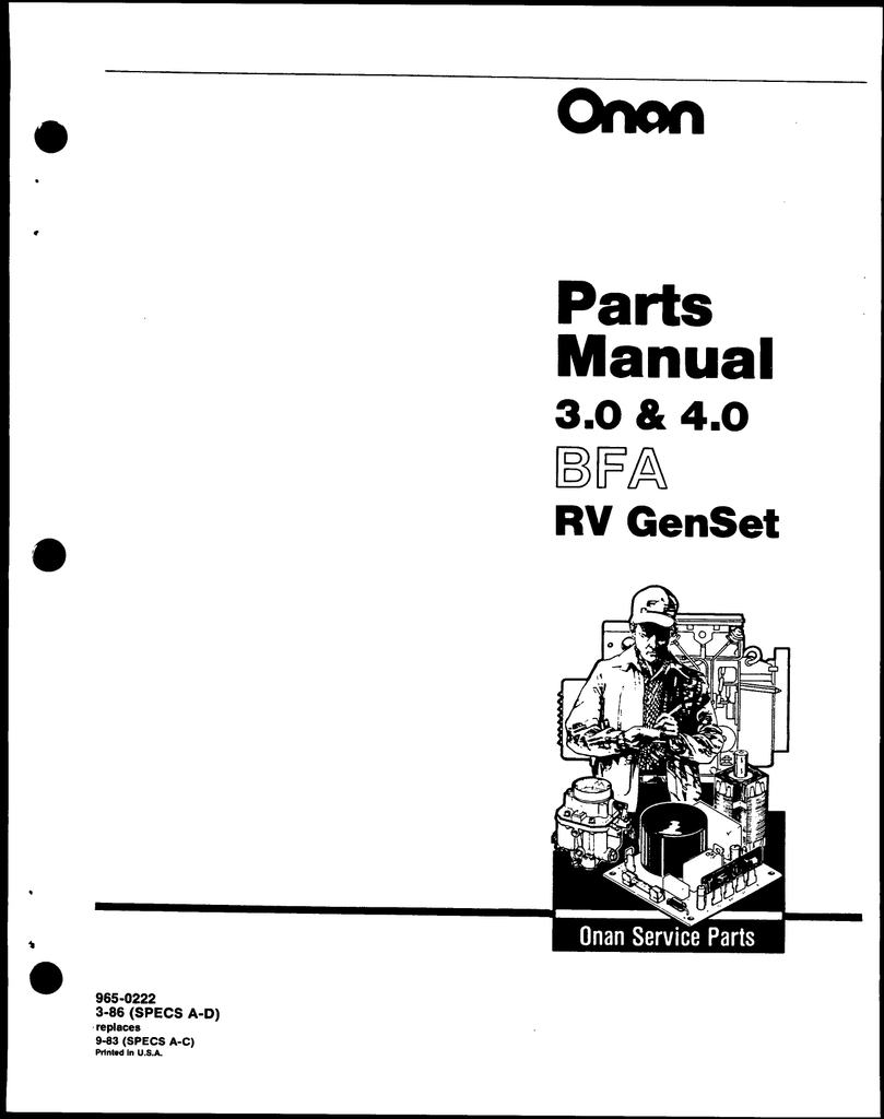 Onan 965-0222 Bfa 3.0-4.0 Parts. | Manualzz - Onan 4.0 Rv Genset Wiring Diagram