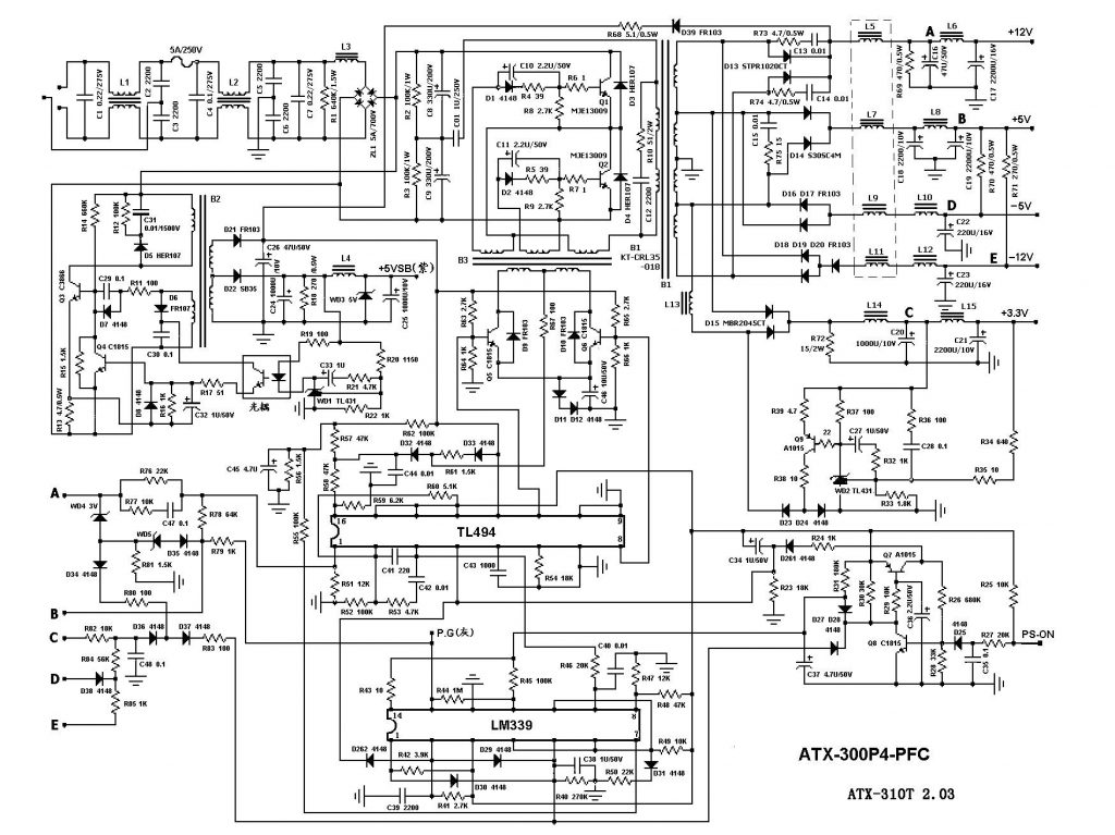 Computer Power Supply Diagram Pc Keyboard Schematic