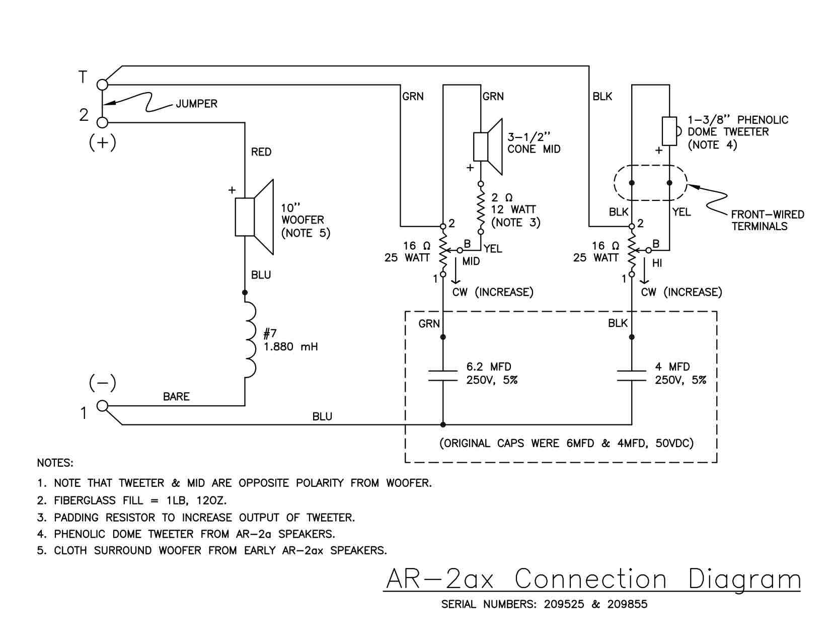 polarity determination – acoustic research – the classic speaker – speaker  and tweeter wiring diagram