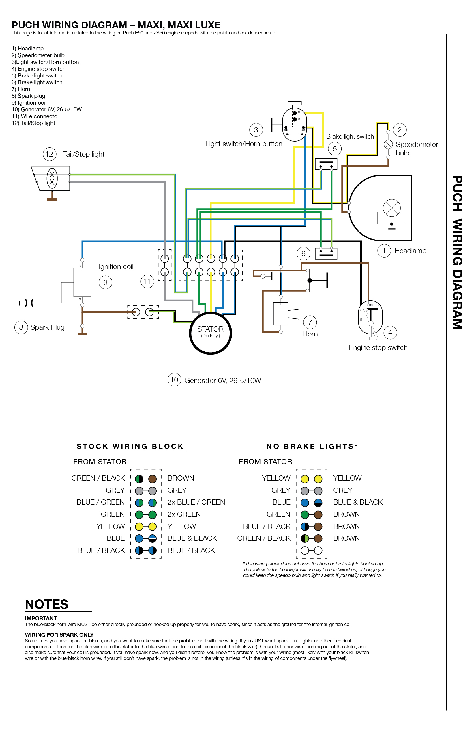 Puch Wiring - Moped Wiki - Brake Lights Wiring Diagram