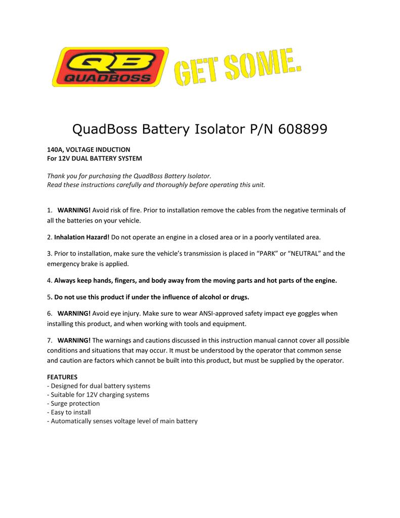 Quadboss Battery Isolator P/n 608899 - Battery Isolator Wiring Diagram