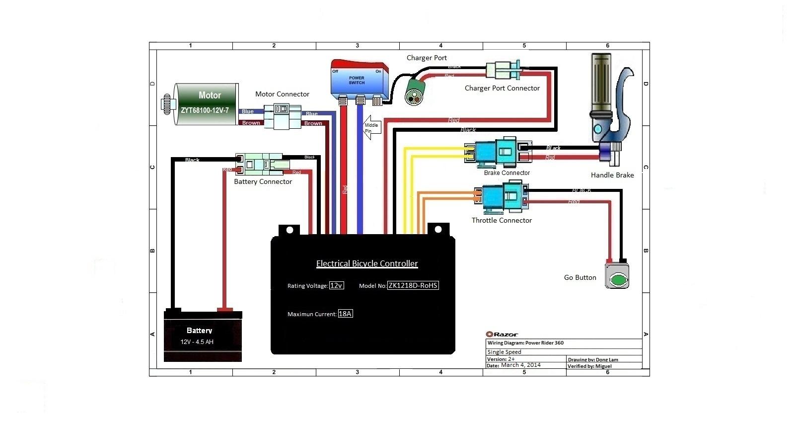 Razor E100 Scooter Schematics   Wiring Diagram - Razor E300 Wiring Diagram