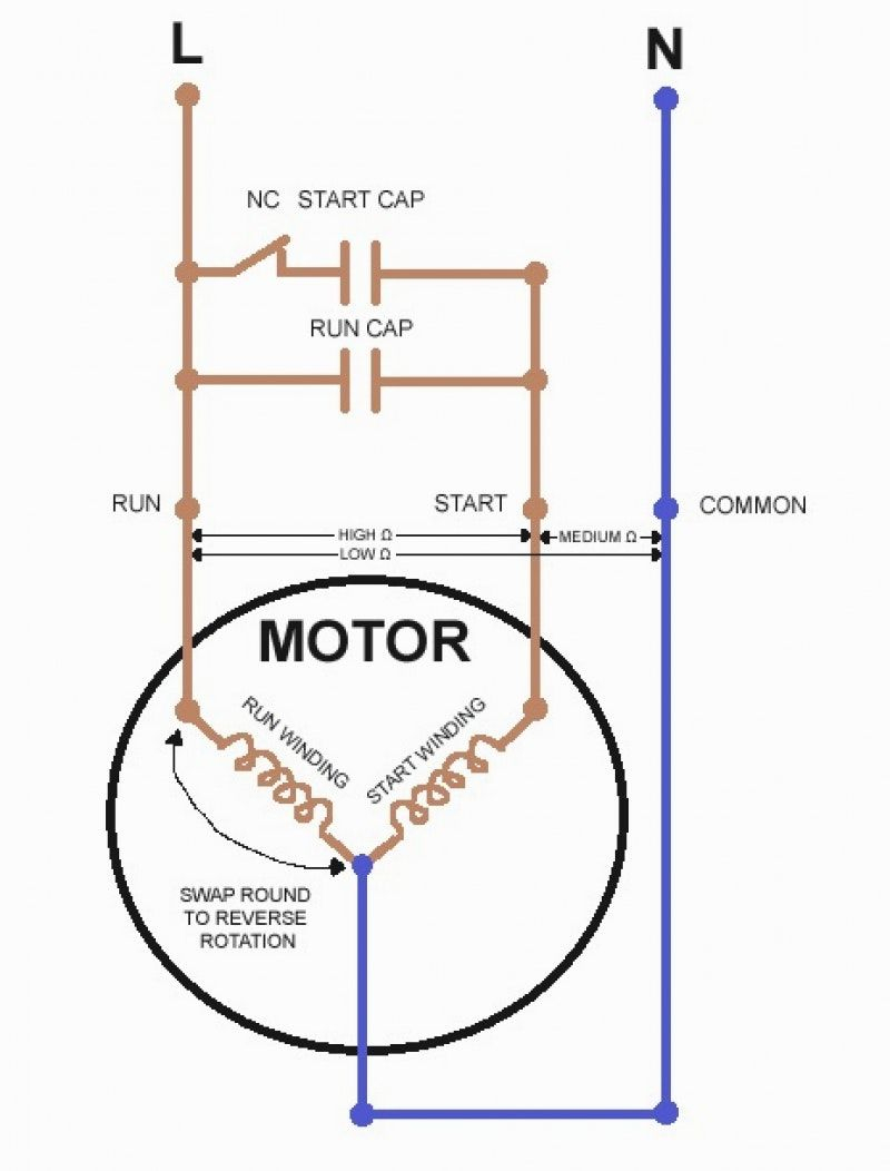 Reverse Single Phase Motor Wiring Diagram | Manual E-Books - Wiring Diagram For 230V Single Phase Motor