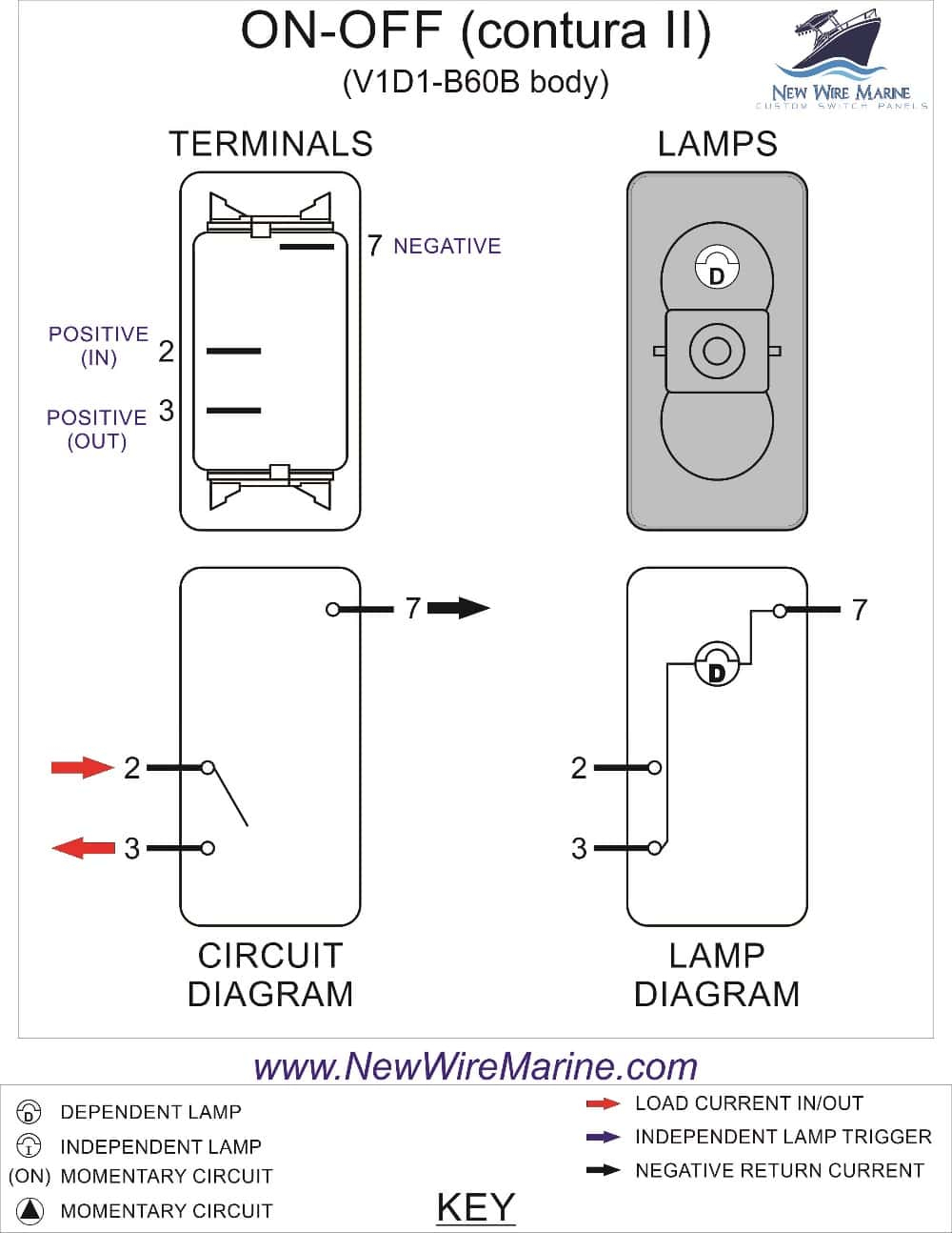 Rocker Switch Wiring Diagrams | New Wire Marine - Carling Switches Wiring Diagram