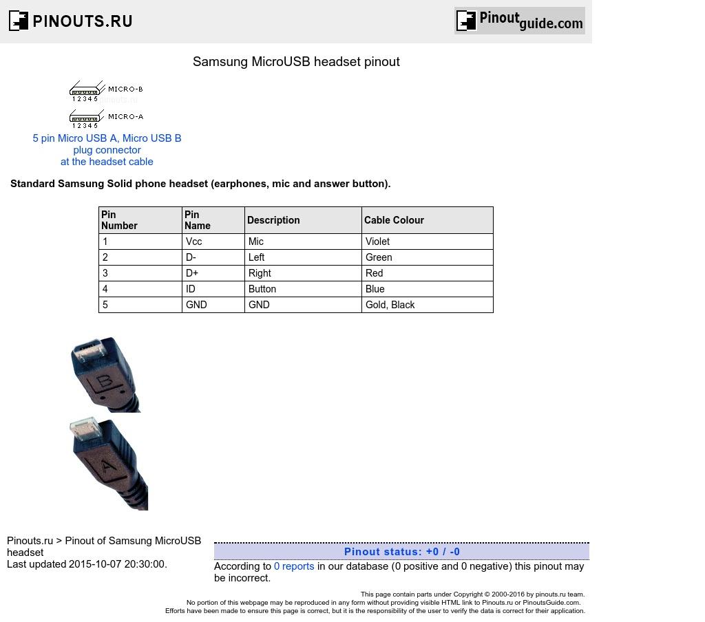 Samsung Microusb Headset Pinout Diagram @ Pinoutguide - Micro Usb Wiring Diagram
