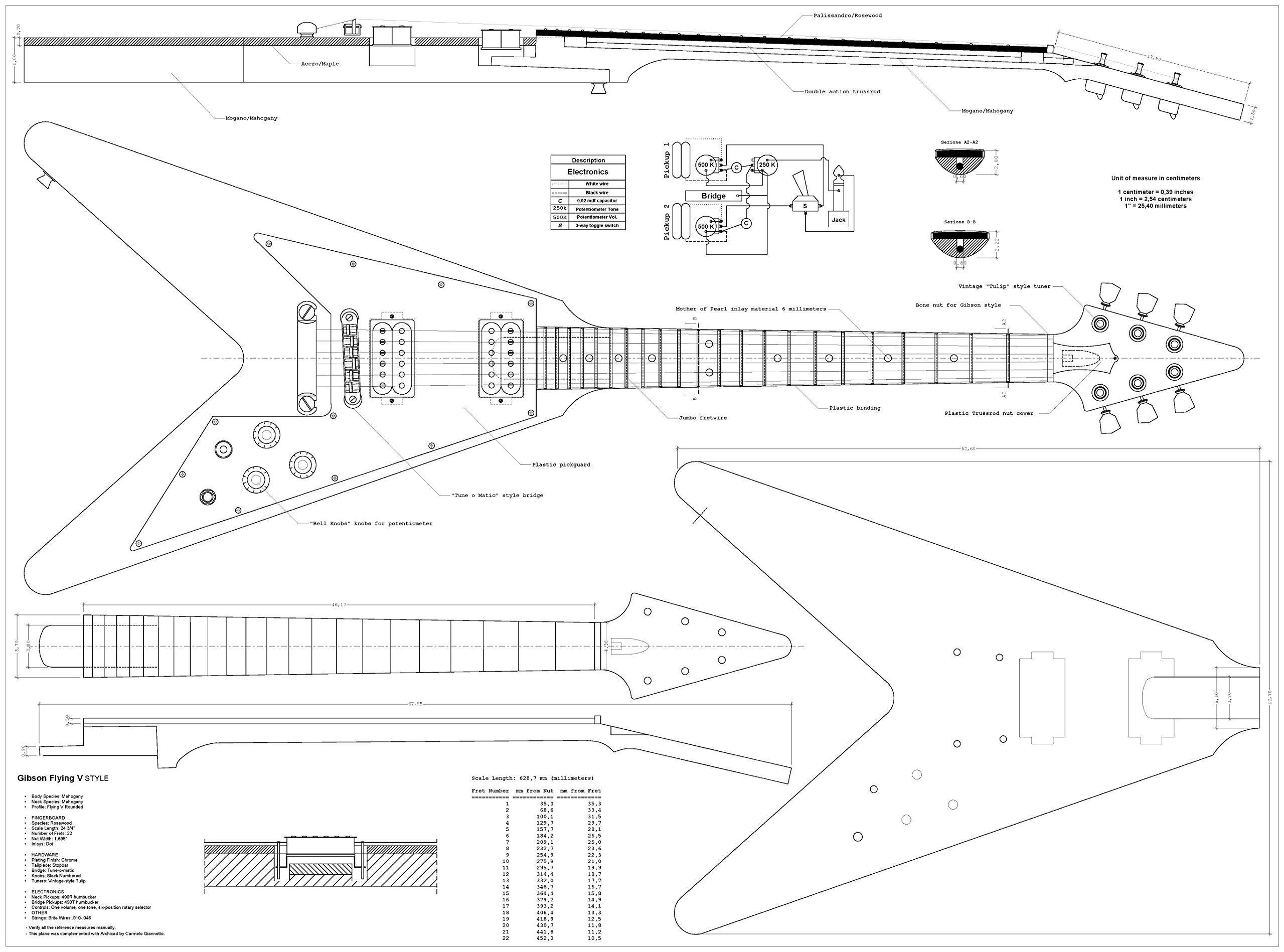 Set Of 4 Electric Guitar Plans - Gibson Flying - V, Gibson Explorer - Es 335 Wiring Diagram