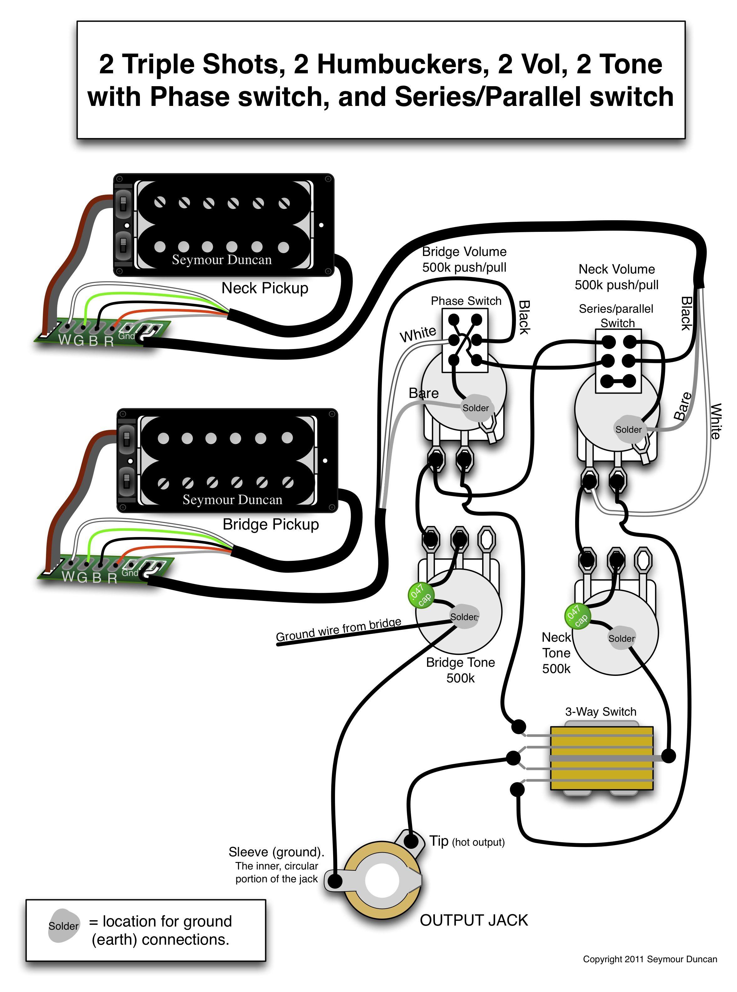 Seymour Duncan Wiring Diagram - 2 Triple Shots, 2 Humbuckers, 2 Vol - Humbucker Wiring Diagram