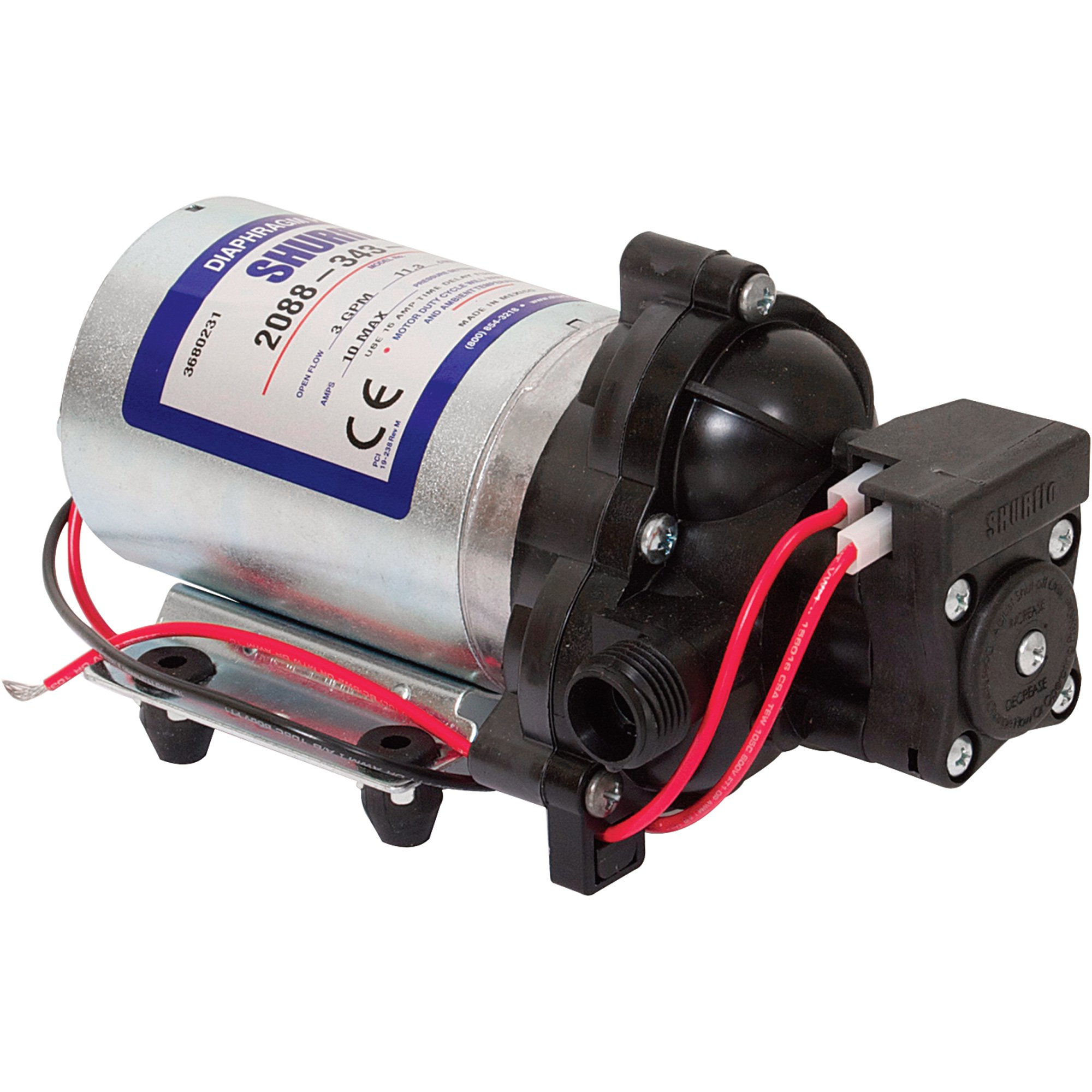 Shurflo Self-Priming 12 Volt Diaphragm Water Pump — 180 Gph, 1/2In - Shurflo Water Pump Wiring Diagram