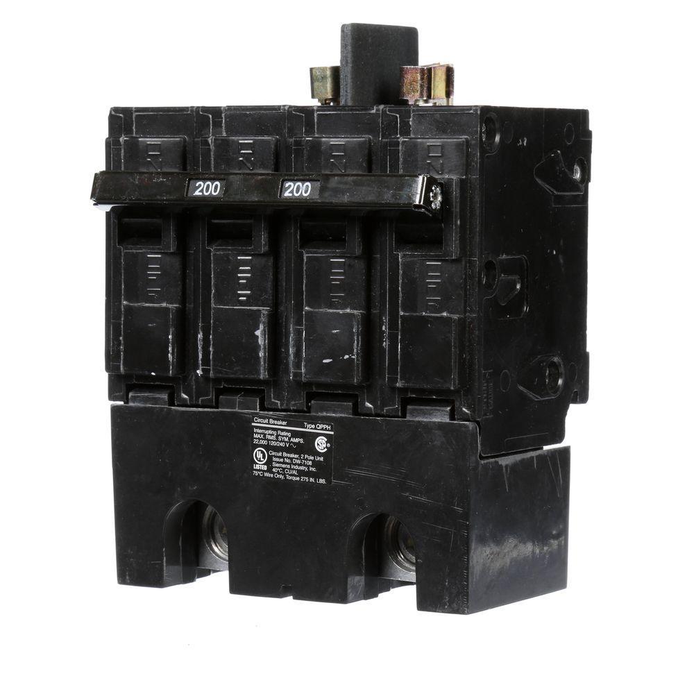 Siemens 200 Amp Double-Pole 22Ka Type Qpph Circuit Breaker-Q2200Bh - Double Pole Circuit Breaker Wiring Diagram