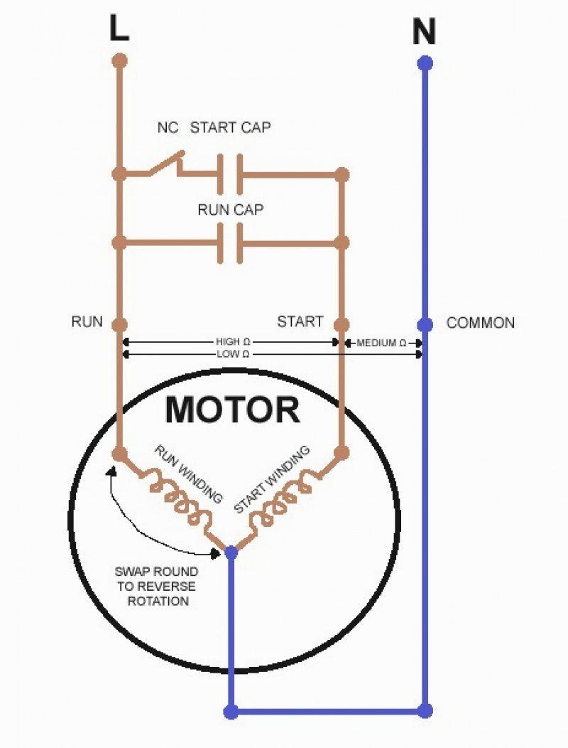 Single Phase Capacitor Start Capacitor Run Motor Wiring Diagram - Capacitor Start Motor Wiring Diagram