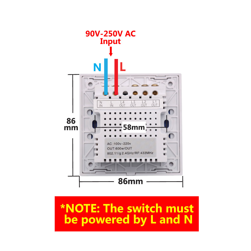 Sonoff T1: 1-3 Gang Wifi Rf 86 Smart Wall Touch Light Switch - Sonoff Wiring Diagram