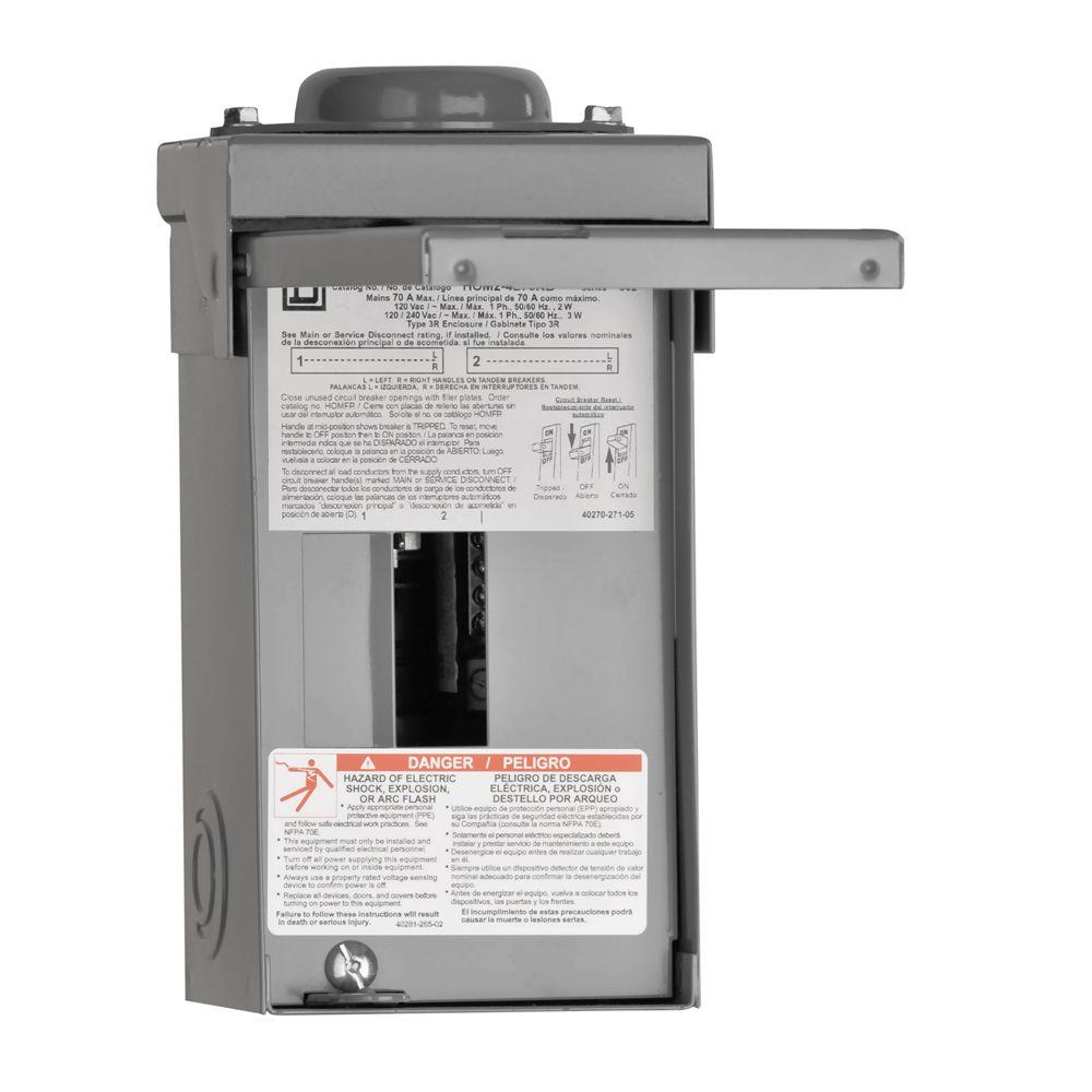 Square D Homeline 70 Amp 2-Space 4-Circuit Outdoor Main Lug Load - Homeline Load Center Wiring Diagram