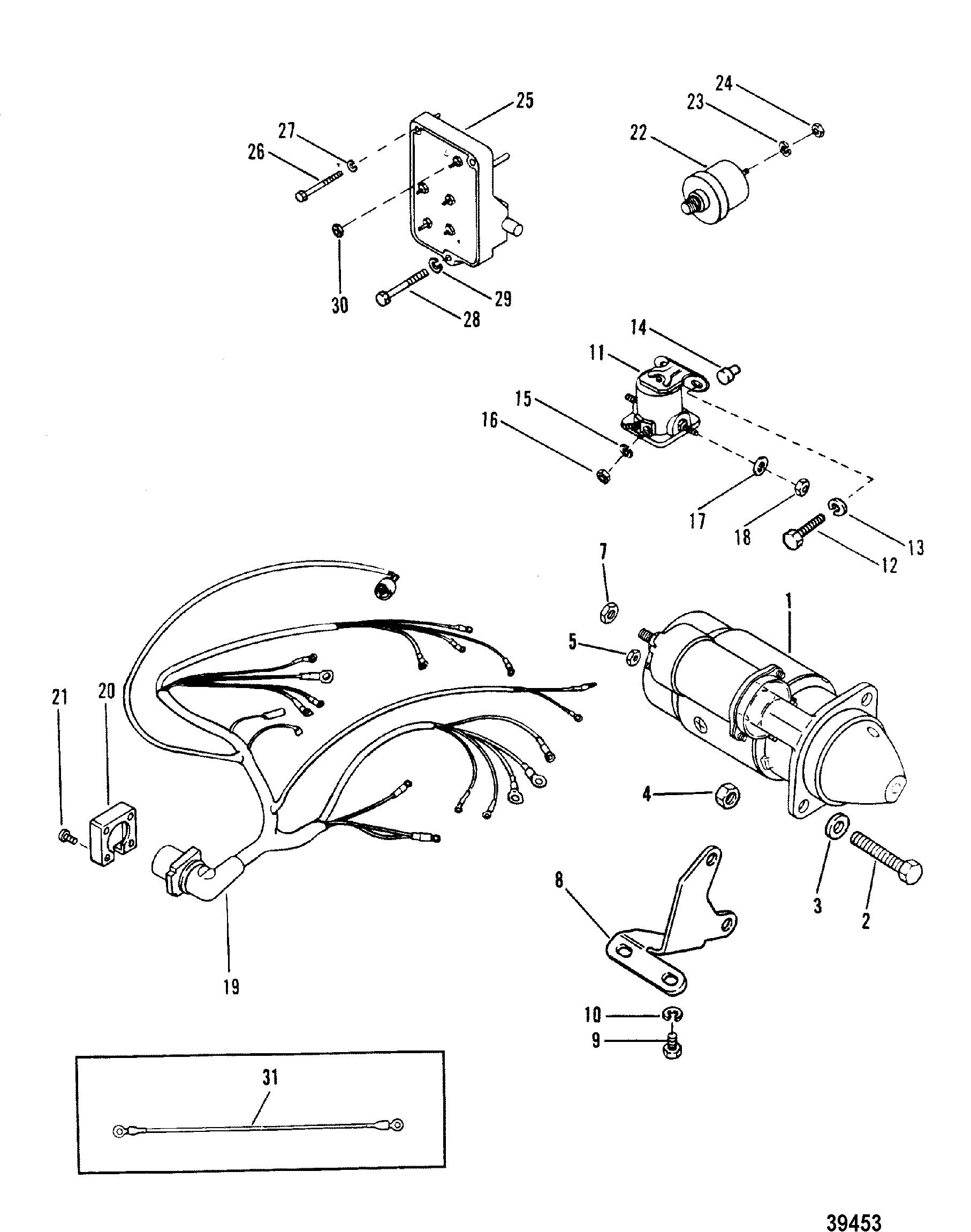 Starter Motor And Wiring Harness For Mercruiser 165 - Starter Motor Wiring Diagram