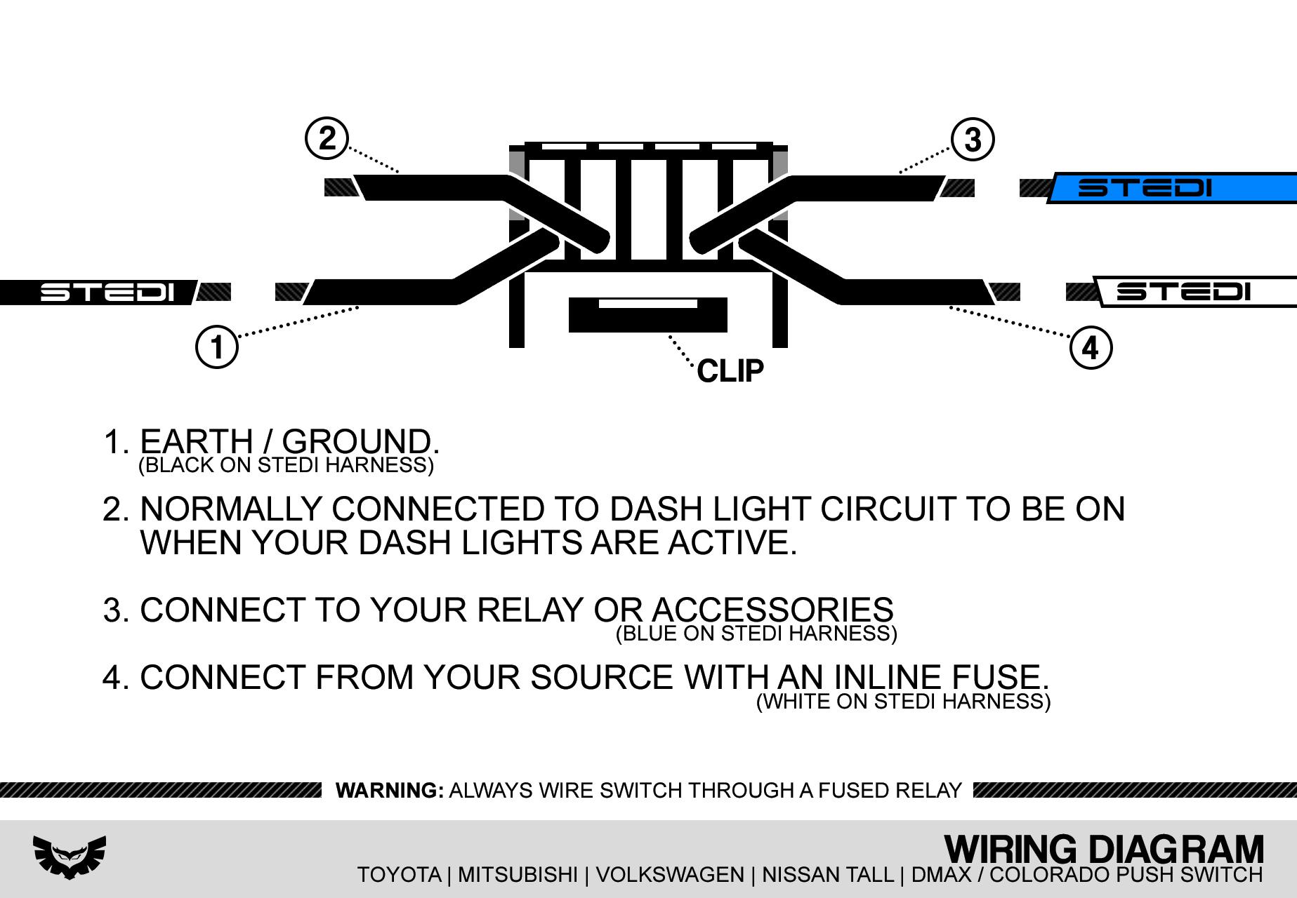 Stedi Blog - Push Button & Carling Type Rocker Switch Wiring - Push Button Switch Wiring Diagram