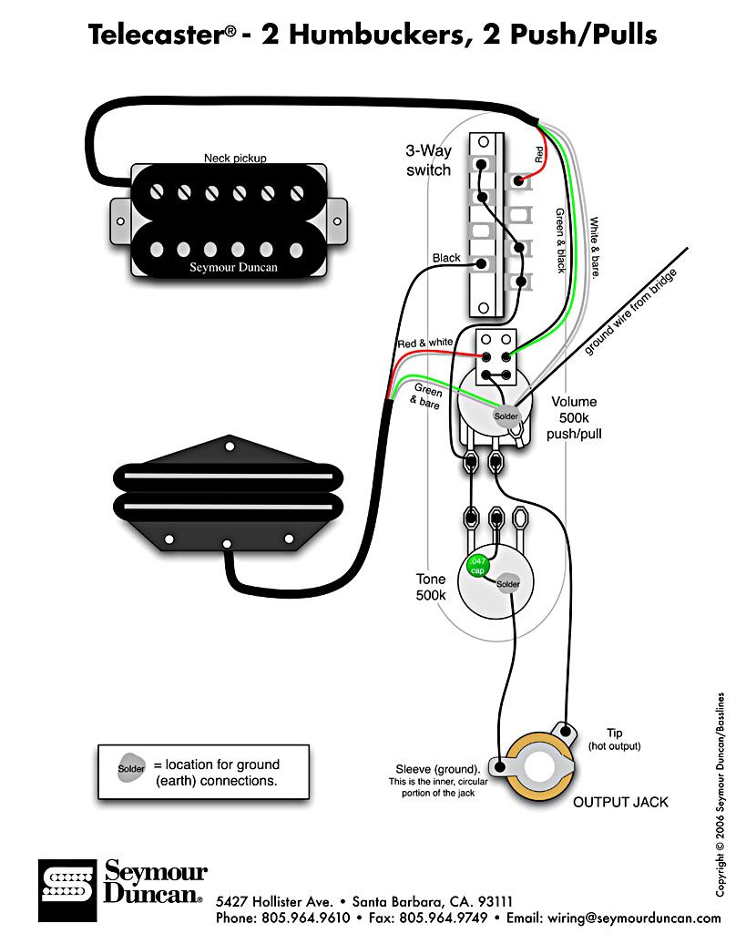 Tele Wiring Diagram, 2 Humbuckers, 2 Push/pulls | Telecaster Build - Tele Wiring Diagram