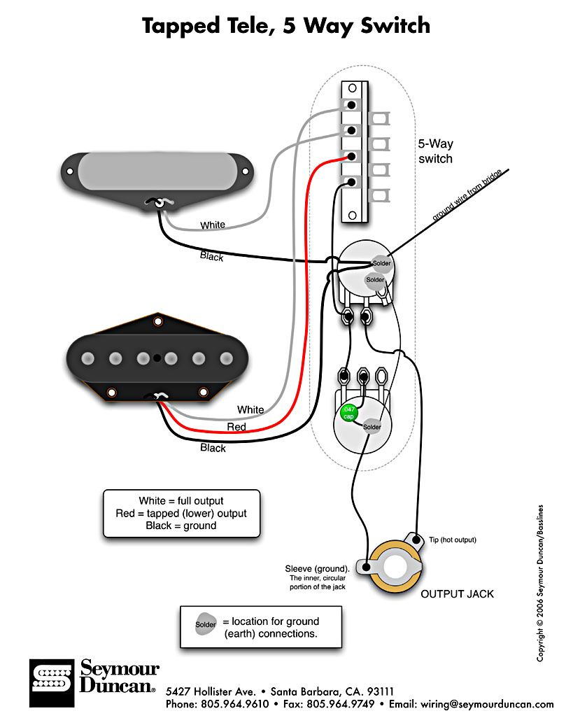 Tele Wiring Diagram, Tapped With A 5 Way Switch | Telecaster Build - Standard Strat Wiring Diagram