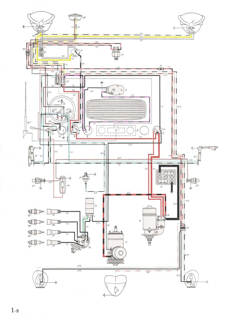 Thesamba :: Type 1 Wiring Diagrams   1973 Vw Beetle Wiring Diagram