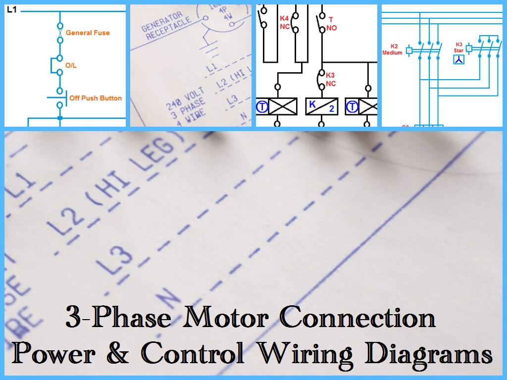 Three Phase Motor Power & Control Wiring Diagrams - 3 Phase Motor Wiring Diagram