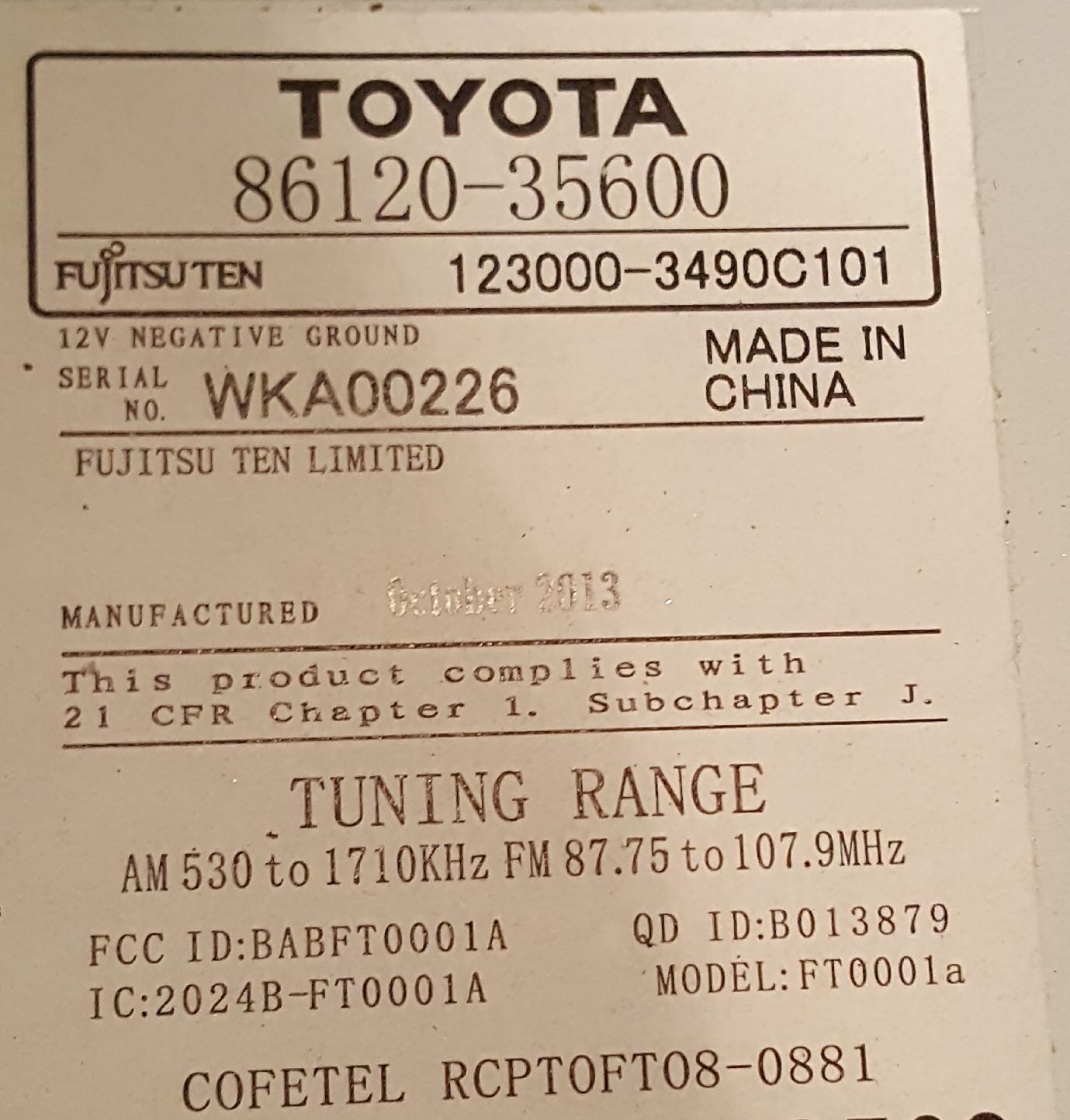 Toyota Fujitsu 86120 14 Wiring Diagram | Wiring Diagram - Toyota 86120 Wiring Diagram