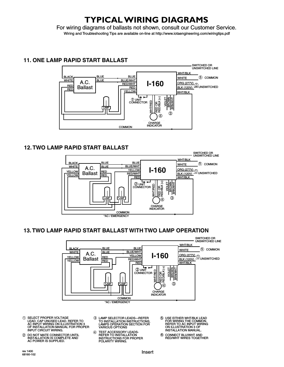 Typical Wiring Diagrams, I-160, A.c. Ballast   Iota I-160 User - Ballast Wiring Diagram