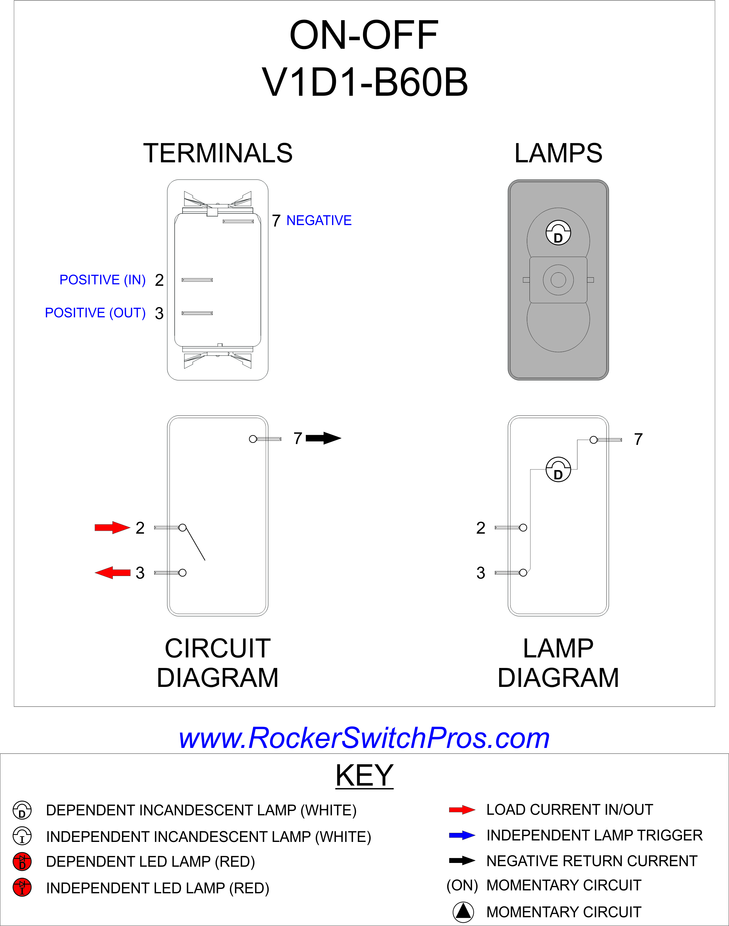 V1D1-B60B - Carling Switches Wiring Diagram