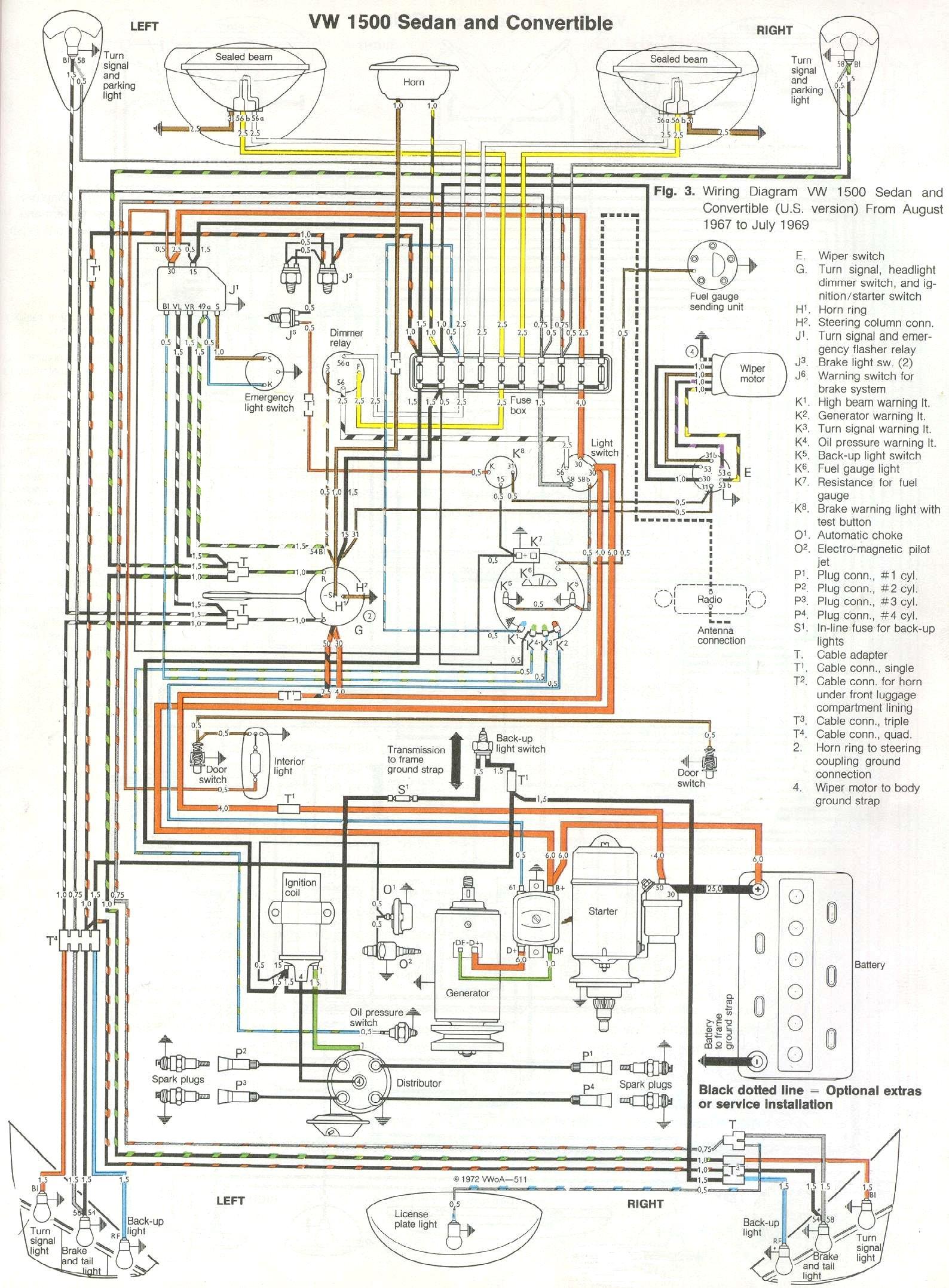 Vw Beetle Wiring - Wiring Diagrams Hubs - 1973 Vw Beetle Wiring Diagram