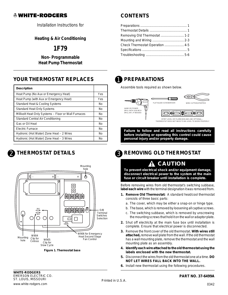 White Rodgers 1F79 User Manual | 6 Pages - White Rodgers Thermostat Wiring Diagram