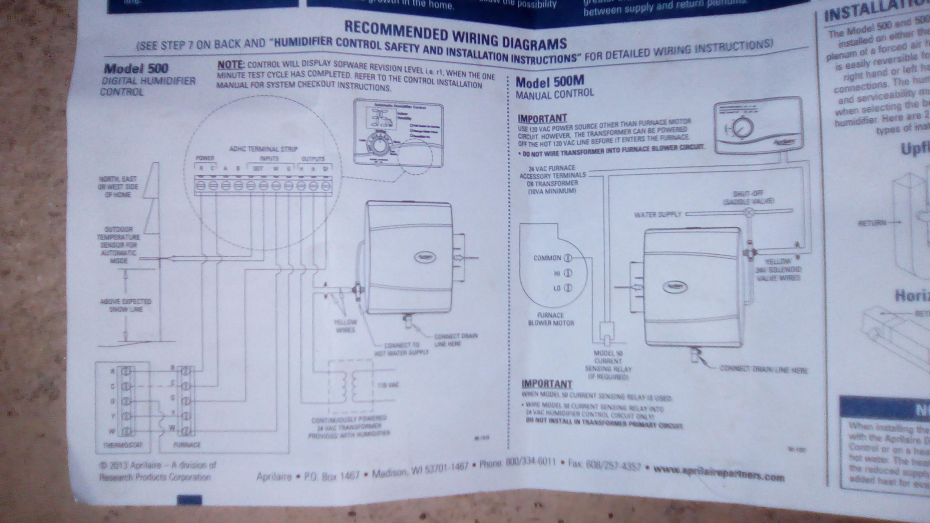Wiring Aprilaire Humidifier 500 Automatic - Wiring Diagrams Hubs - Aprilaire Humidifier Wiring Diagram