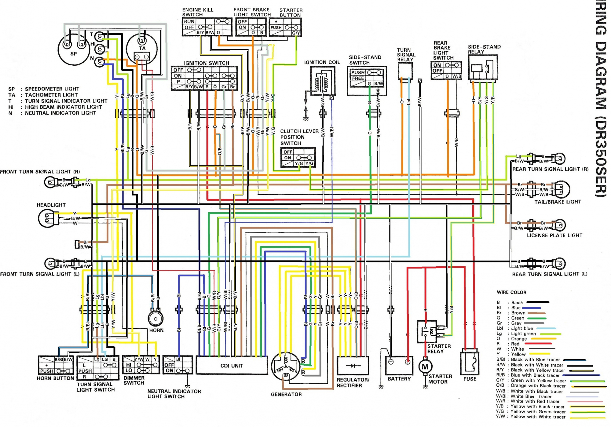 Wiring Diagram For The Dr350 Se (1994 And Later Models) - Color - Wiring Diagram For A