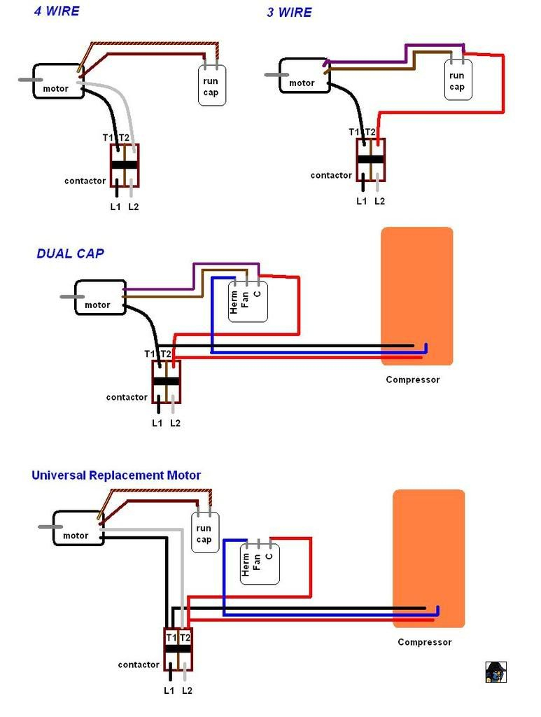 Wiring For Ac Condenser Fan Motor And Capacitor | Manual E-Books - 4 Wire Motor Wiring Diagram