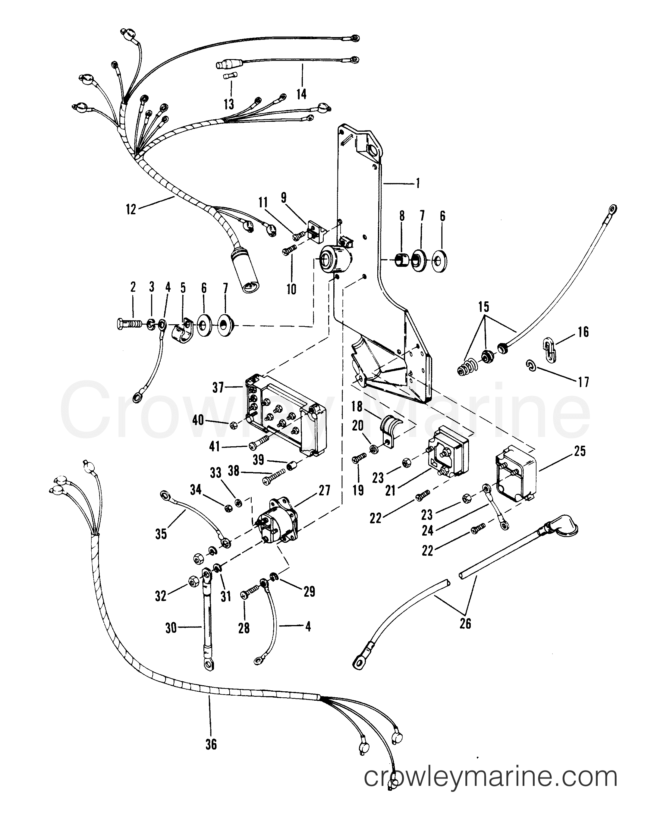 Wiring Harness, Starter Solenoid And Rectifier - Serial Range - Mercury Outboard Rectifier Wiring Diagram