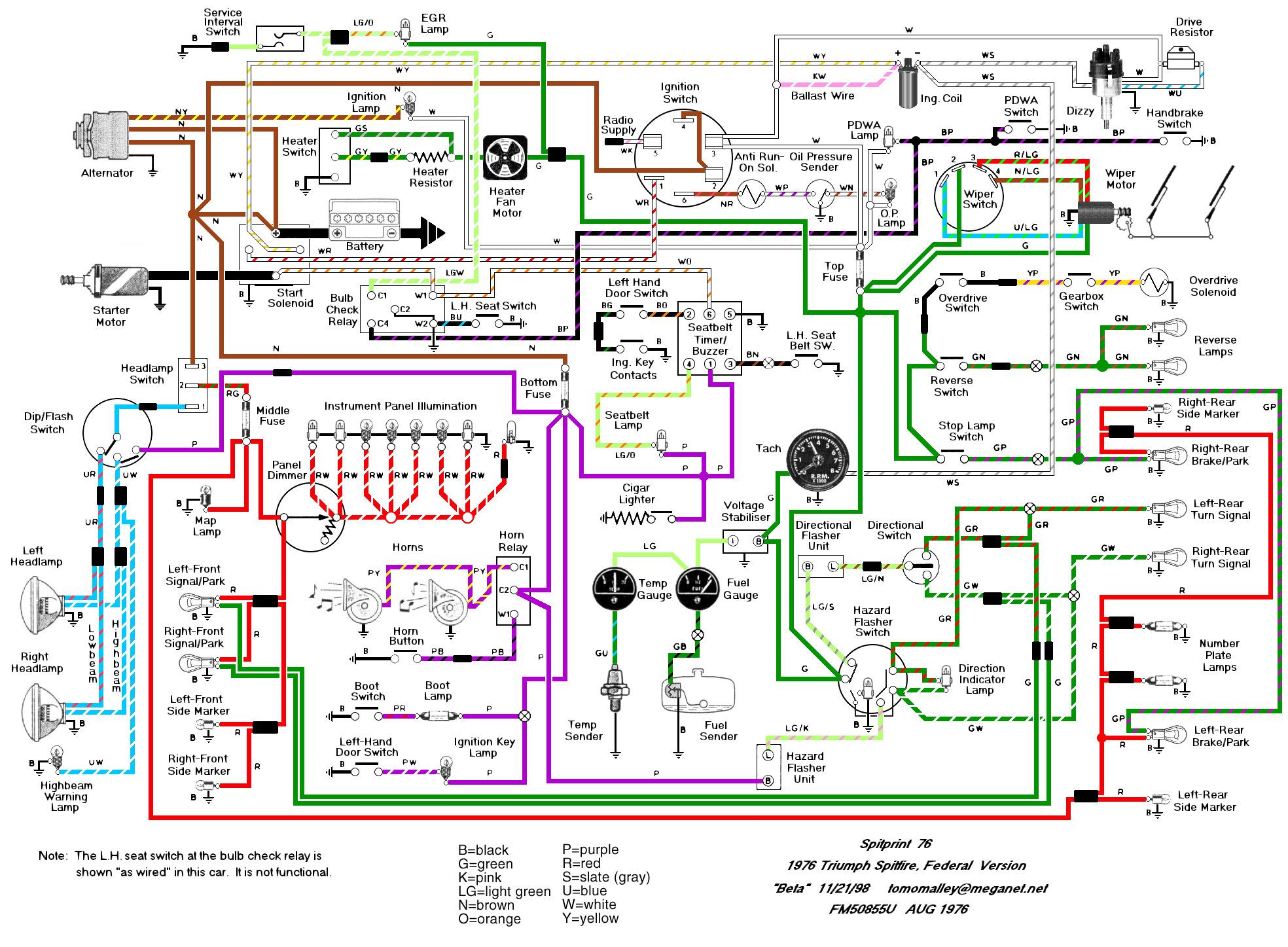 Wiring Schematics And Diagrams - Triumph Spitfire, Gt6, Herald - Wiring Diagram For