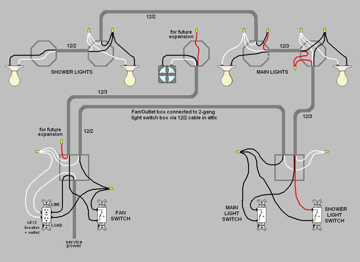 Wiring Two Bathrooms - Wiring Diagrams Hubs - Bathroom Wiring Diagram